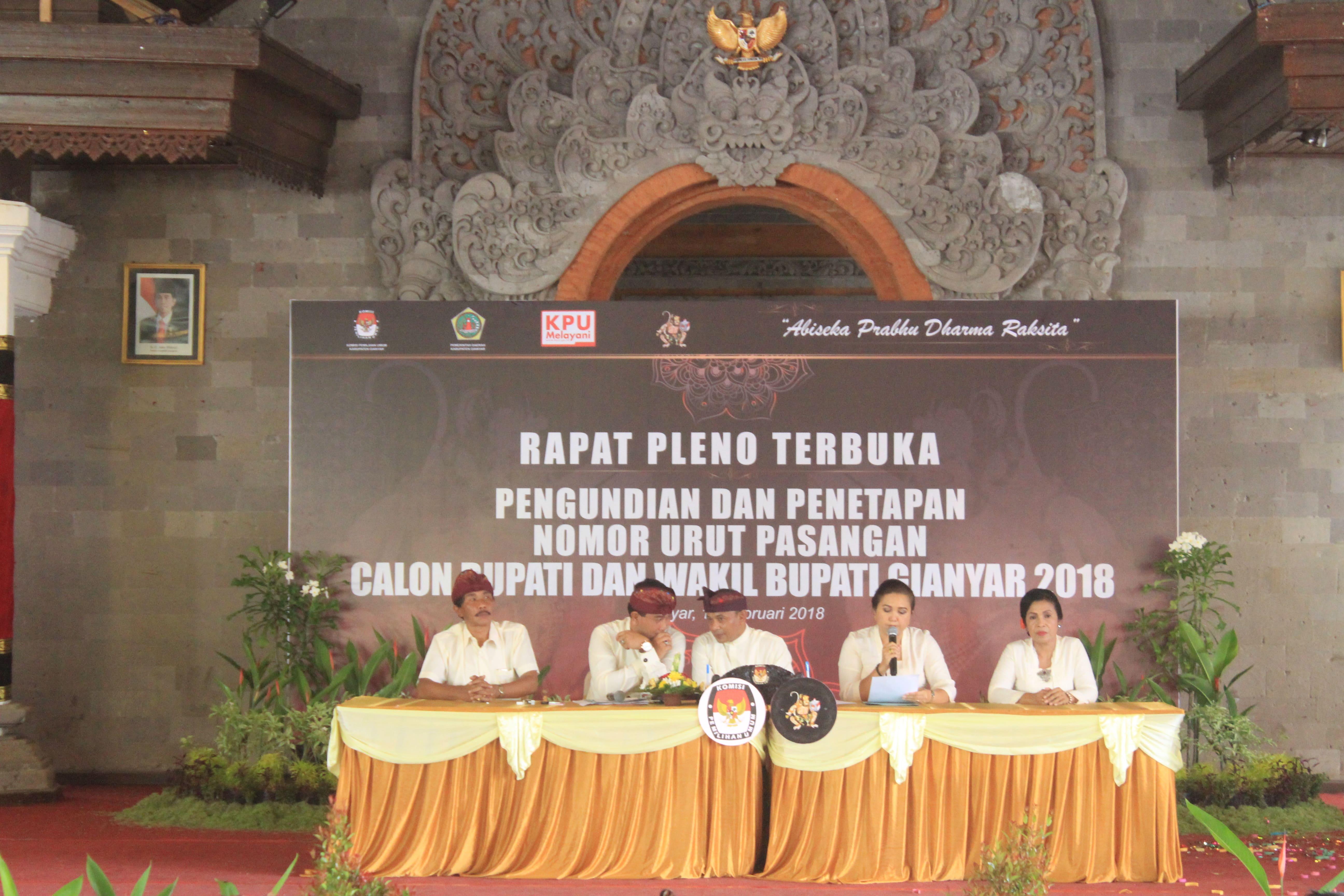 Pengundian dan Penetapan Nomor Urut Pemilihan Bupati dan wakil Bupati Gianyar 2018